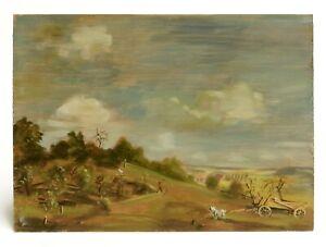 Landschaft mit Gestalten und Tieren wohl Skizze Öl auf Holz