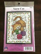 """Joan Elliott Cross Stitch Kit  """"Yarn Cat"""",   #3216, 5 in x 7 in"""