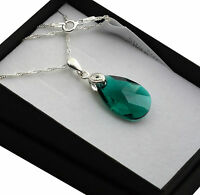 925 Sterling Silver Necklace Crystals from Swarovski® 22mm Pear/Almond *Emerald*