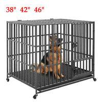 """XXL 46"""" Heavy Duty Pet Dog Cage Strong Metal Crate Kennel Playpen w/ Wheels&Tray"""