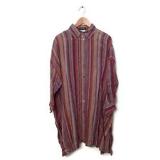 ESKANDAR Tunic Dress 1 Multi Color Stripe Linen Kaftan Shirt Top Lagenlook Women