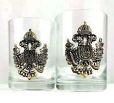 "Set of 2 Glass Drinking Glasses Double Headed Eagle Austria Mudgeblashen 4"" Tall"