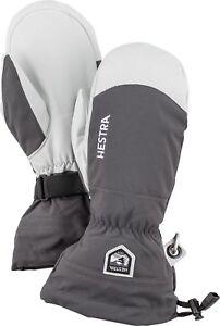 2020 Mens Hestra Army Leather Heli Ski Mitten Mitt Ski Gloves Size 8 Grey 30571