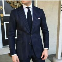 Mens Navy Blue Stripe Suit Grooms Tuxedo Wedding Dinner Formal Business Suit