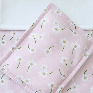 Dolls Pram Cot Bedding Set - Pink with White Daisy Flowers