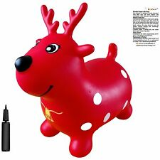 Reindeer Hopper with Pump, Inflatable Space Hopper, Ride-on Bouncy Horse