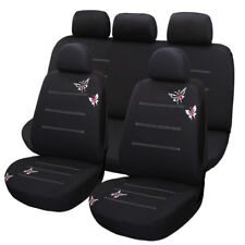 10 Part Butterflies Embroidered Car Seat Covers Set for Auto w/Headrest Covers