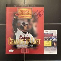 David Justice Signed Sports Illustrated 1995 World Braves No Label Auto JSA COA