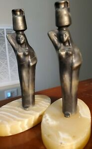 """2 Bronze Egyptian Art Deco """"Women Carrying Water"""" on Marble Base"""