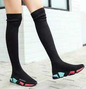 Womens Knitted Stretch Socks Boots Over The Knee Sport Sneakers Shoes Slim New