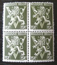 1944 BELGIUM BLOCK OF STAMPS~LION RAMPANT~DK OLIVE~BELGIQUE-BELGIE~MNH~UNUSED