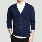 Mens Casual V-neck coat Knitwear jacket Cardigan Pullover Blouse jumper Sweater