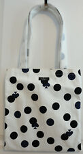 "NWT Kate Spade ""Dot and Spade Bon Shopper"" White Canvas Tote Shopping Bag"