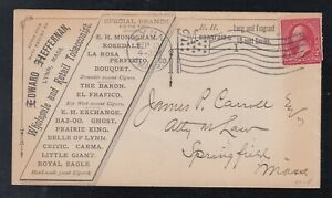 USA 1900 TOBACCO & CIGAR Advertising Cover LYNN MA FLAG Cancel to Springfield