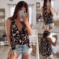 Women Casual Chiffon Leopard Shirt Blouse Summer Sleeveless Vest Tank Top TShirt