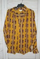 Umgee USA Boutique Women's Size L Gold Boho Feather Lace Fall Top Blouse Shirt