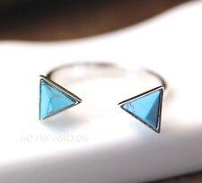 Turquoise Pyramid Ring Triangle Geometric Birthstone Silver Tone Gift Idea