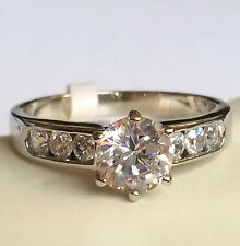 Silver Rhodium Plated Engagement Ring Cubic Zirconia Channel Set Size 10 USA