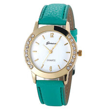 Mode Damen Armbanduhren Diamond Leder Quarz Analog Uhren Wrist Watch