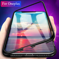 For OnePlus 5T 6 6T Magnetic Adsorption Style Metal Tempered Glass Slim Case