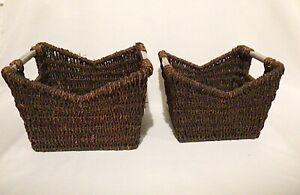 Vintage Style Robust Cane Storage Basket Set Wicker Metal Handles One Pair