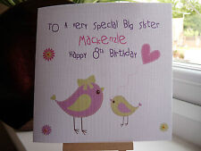 Personalised Handmade Big Sister Birthday Card from Little Sister or Brother
