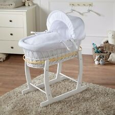 WHITE WAFFLE WHITE WICKER DELUXE MOSES BASKET AND WHITE ROCKING STAND