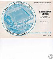 CHESTERFIELD V ROTHERHAM UTD    3RD DIVISION  27/3/76