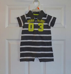 INFANT BABY BOYS GRAY WHT STRIPE CARTERS HANDSOME ONE PIECE POLO ROMPER NEW 6 mo