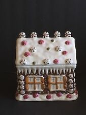 "Gingerbread House Cookie Jar 9"" x 9"" x 7"" Hand-painted"