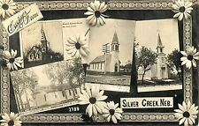 Multiview Postcard, The Churches of Silver Creek NE RPPC 1909