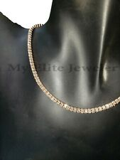 Real 10 K Gold Tennis Chain 10 kt Rose Gold Necklace 20 Inches Diamond Cuts 3mm