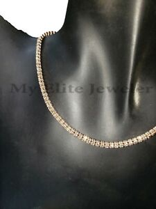 Real 10 K Gold Tennis Chain 10 KT Rose Gold CHOKER Necklace 18 Inch Diamond Cut