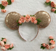 Floral Squin Minnie Mouse Mickey Mouse Ears Headband Disneyland World