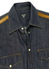 Dolce & Gabbana Blue Snap Button Jean Shirt Leather Sleeve Trims Small