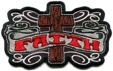 FAITH cross/banner EMBROIDERED IRON-ON PATCH *Free Ship* christian jesus y ph434