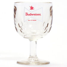 "Vintage Budweiser 6"" Thumbprint Glass Goblet Chalice White Bowtie Set of 2"