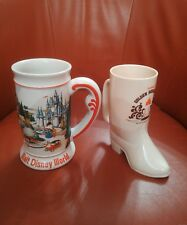 Walt Disney World Main Street Ceramic Stein Beer Tankard + Disney Land Boot Mug