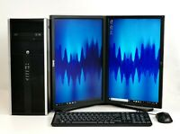 Office Home Dual Monitor PC Tower SET Intel Quad i5 SSD HDD 8-16GB RAM Win 10