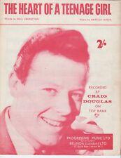 Le cœur d'une adolescente-CRAIG DOUGLAS - 1960 Sheet Music