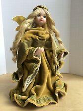 "Original Hardarbeit Wax Angel Blond Gold Velvet Christmas Tree Topper Figure 12"""