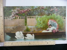 Rare Antique Original VTG Lady W/ Parasol In Rowboat W/ Swans Litho Art Print