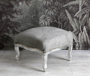 Footrest Pouf Stool Baroque Silver Vintage Solid Wood Bedroom Bench
