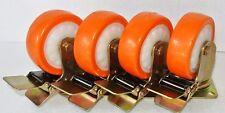 """4 x 4"""" PU CASTER WHEELS SET 4 x SWIVEL WITH BREAK H/DUTY TROLLEY 200KG Load Each"""