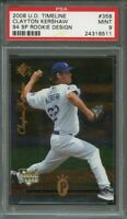 2008 u.d. timeline 94 sp rookie design #358 CLAYTON KERSHAW rookie card PSA 9