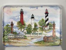 Vtg MelPlus 1995 Donna Elias Florida Great American Lighthouses Serving Tray