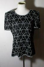 Women's STENAY Black 100% Silk Beaded Formal Evening Top Size L