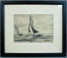 SAILBOAT RACE__Vintage 1948 Pencil/Graphite Drawing__Signed__ExC__SHIPS FREE