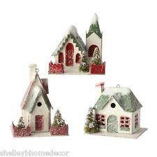 Putz House Ornaments wBottle Brush Trees S3 RAZ Christmas rzchtw 3600501 NEW