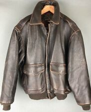 Vintage AVIREX Type A-2 Dark Brown Heavy Flight Bomber Jacket USA Made Size L